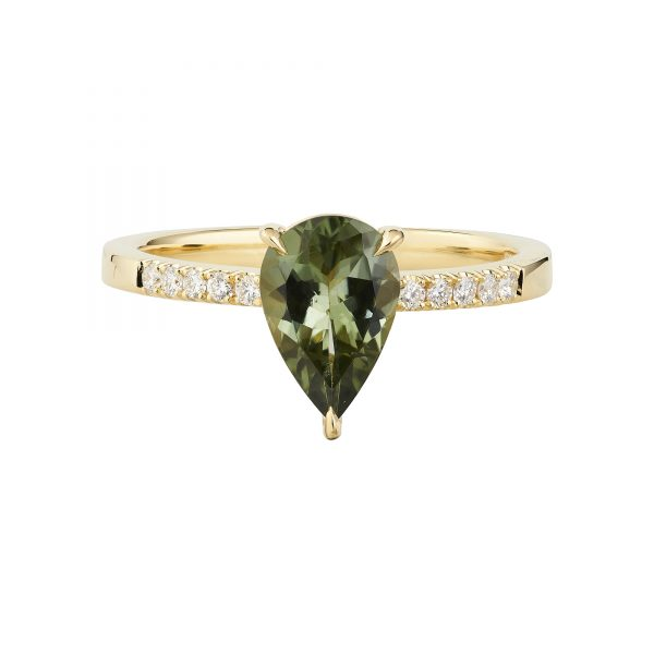 18ct yellow gold and pear-shaped Tourmaline engagement ring