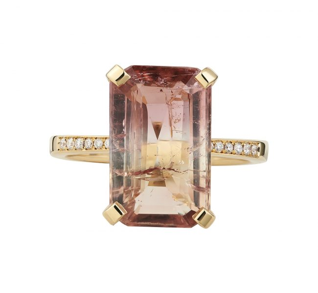 18ct yellow recycled gold sunset tourmaline ring