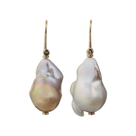 18ct rose gold and diamond Baroque pearl drop earrings