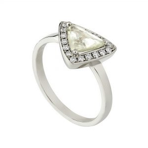 18ct white gold green rough maccle diamond halo ring