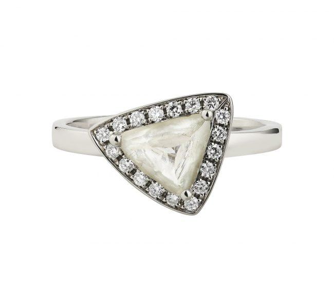 18ct white gold green rough maccle diamond halo ring