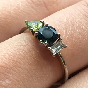 18ct white gold sapphire, diamond and peridot Limited Edition trilogy ring