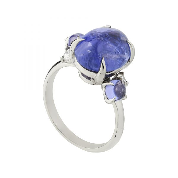 18ct white gold Tanzanite and diamond Bubble ring
