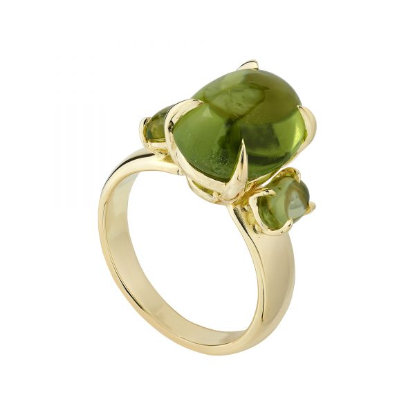 18ct yellow gold and Cabochon Peridot Trilogy ring