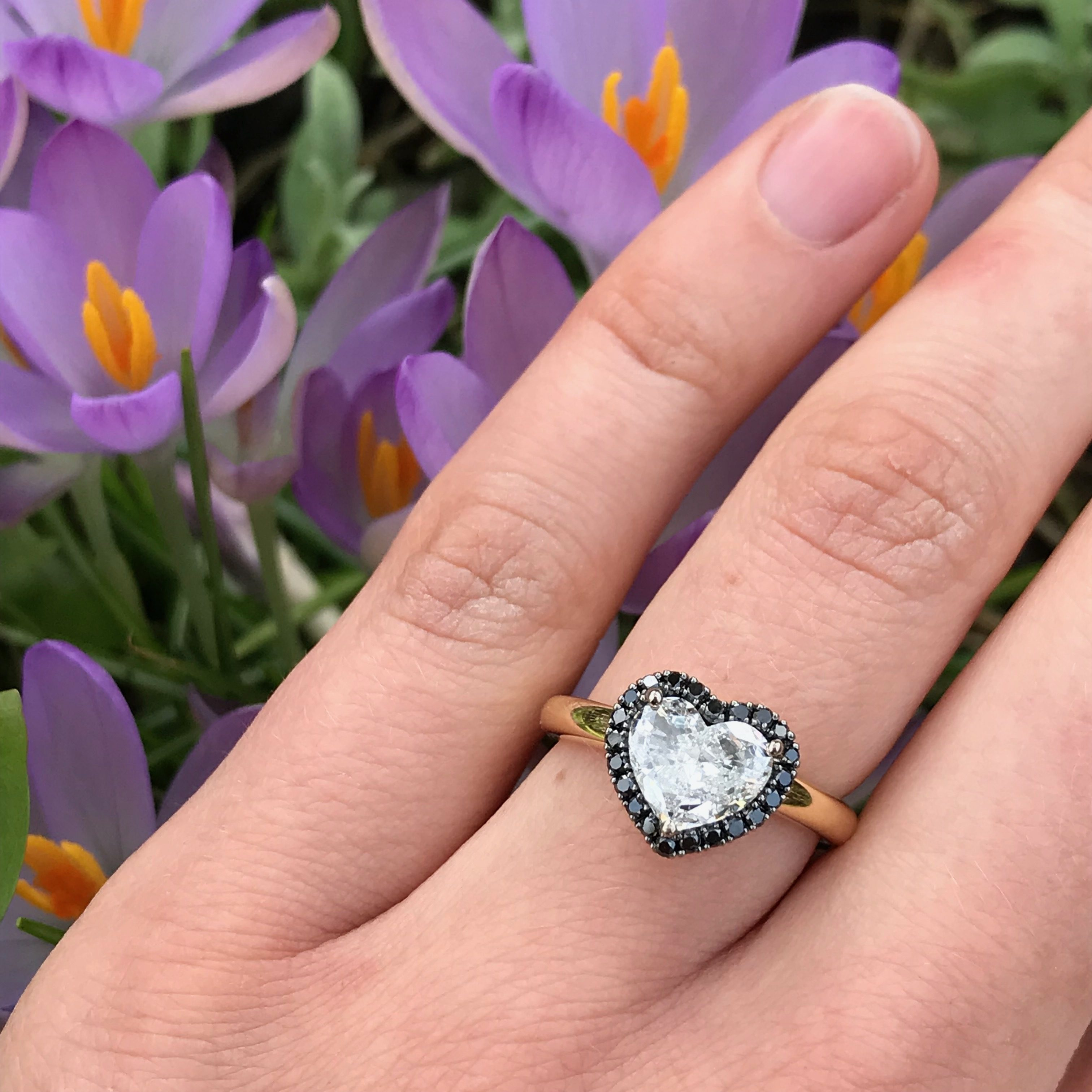 18ct yellow gold and 1 26ct heart shaped diamond Limited Edition engagement  ring with black diamond halo