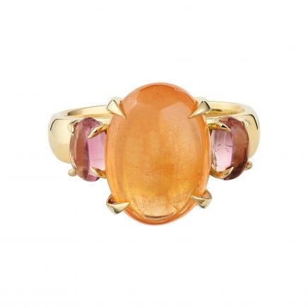 18ct yellow gold Mandarin garnet and pink tourmaline Bubble ring