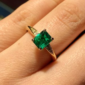 18ct yellow gold and octagon Emerald Coco engagement ring