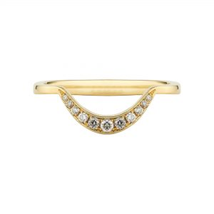 18ct yellow gold Crescent diamond ring with white diamonds
