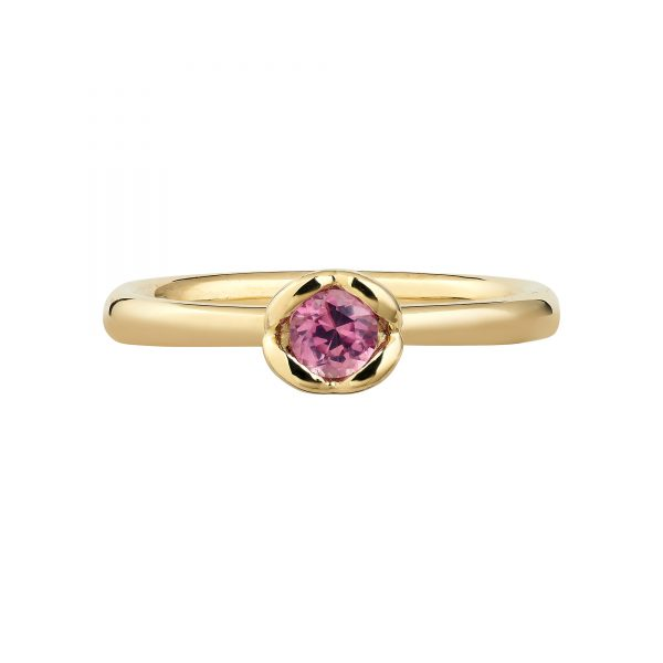 18ct Yellow Gold and Pink Sapphire Coeur Engagement Ring