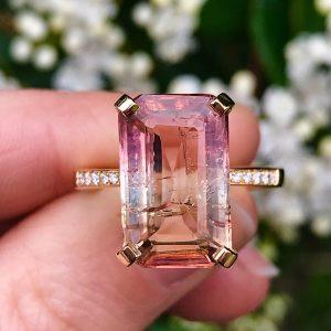 18ct yellow gold emerald-cut sunset tourmaline ring white diamonds