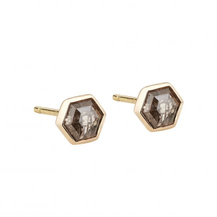18ct rose gold and champagne hexagon diamond stud earrings