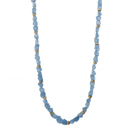 9ct yellow gold and aquamarine bead necklace
