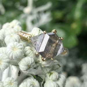 18ct yellow gold Triple Deco rose-cut salt and pepper engagement ring