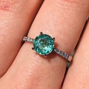 18ct white gold mint tourmaline and white diamond engagement ring