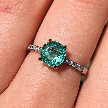 18ct white gold mint tourmaline and white diamond engagement ring