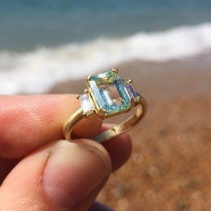 18ct yellow gold emerald-cut Beryl and diamond Deco engagement ring