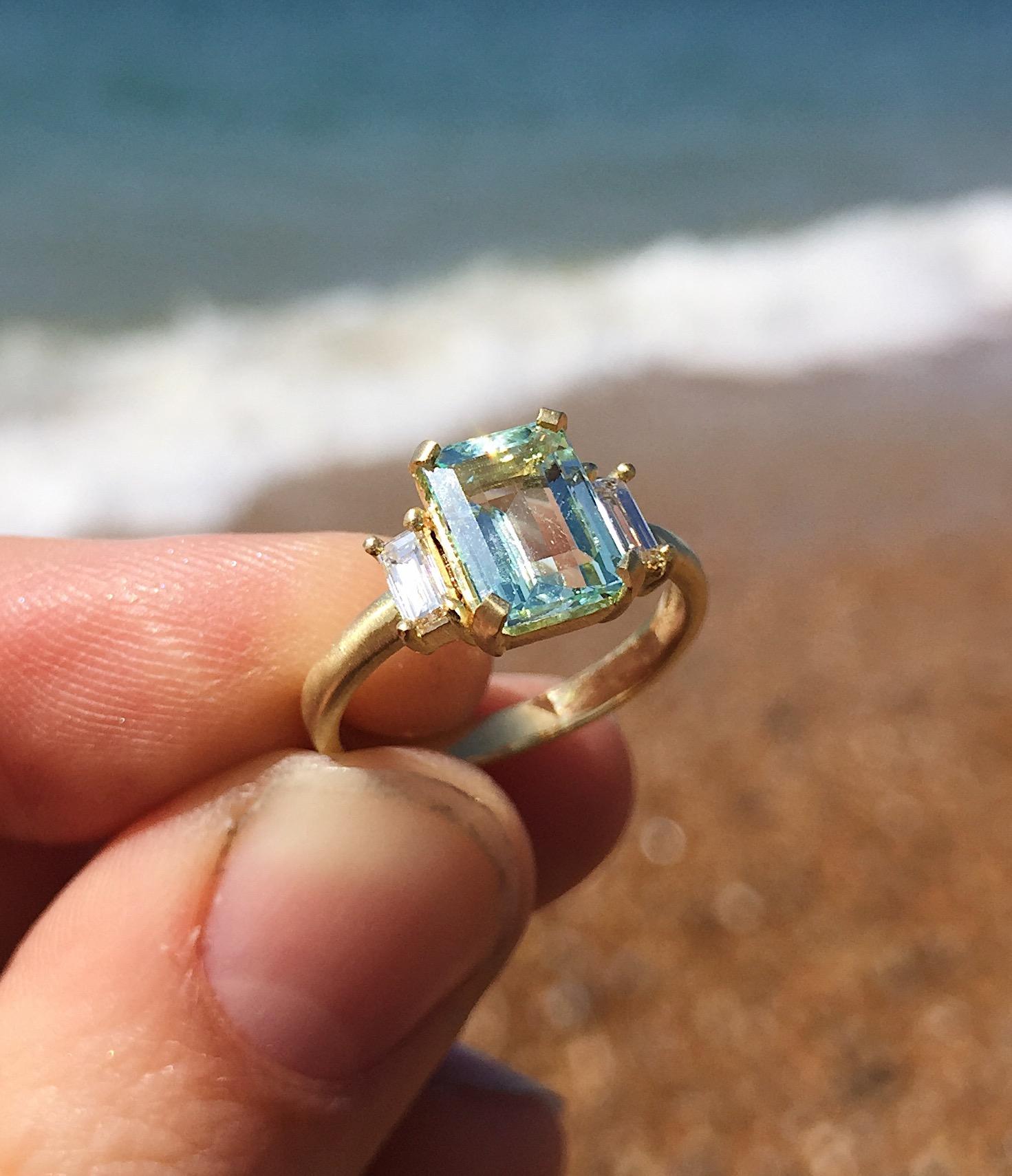 18ct Yellow Gold Emerald Cut Beryl And Diamond Deco Engagement Ring Baroque Bespoke Jewellery
