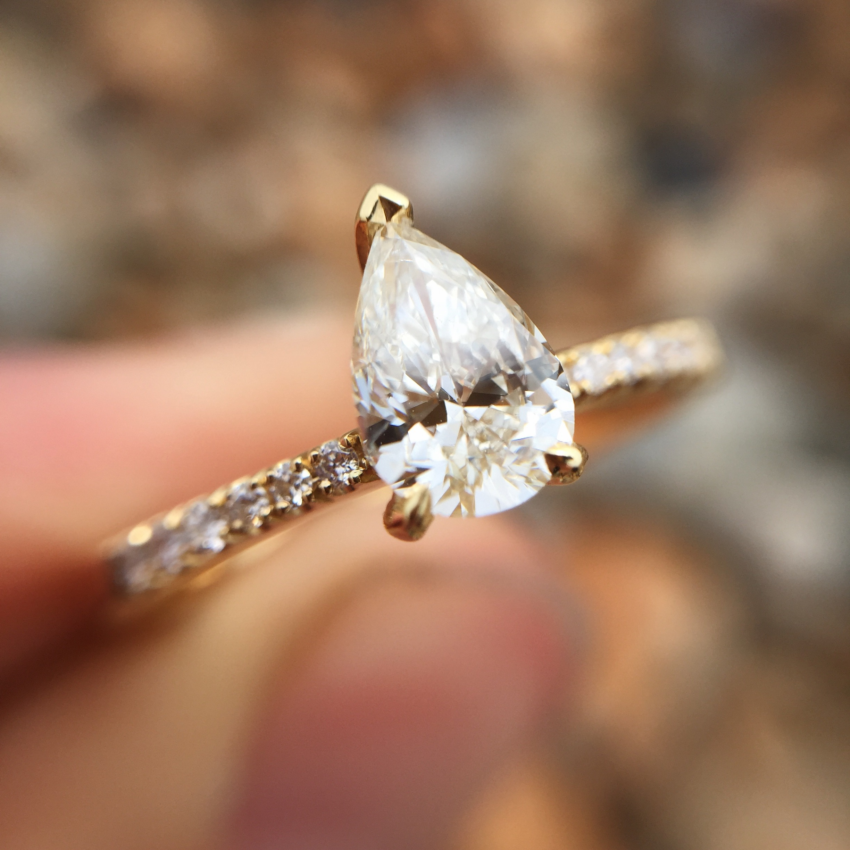 18ct Yellow Gold Pear Shape Diamond Ring With Diamond Shoulders Baroque Bespoke Jewellery