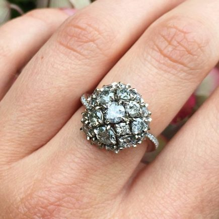 18ct white gold and Salt and pepper Maxi cluster ring with twisted shank