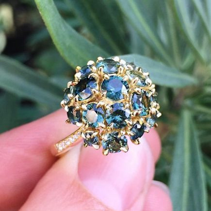 18ct yellow gold and Australian Parti-sapphire maxi cluster ring