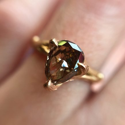 18ct rose gold and pear shaped cognac diamond Woodland engagement ring