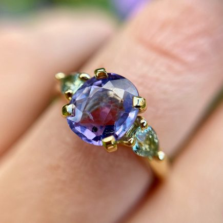 18ct Yellow Gold, Lilac and Green Sapphire Coco Ring