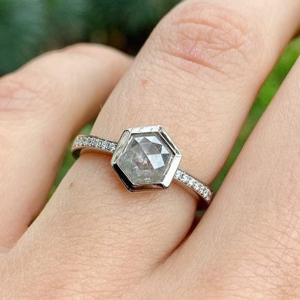18ct white gold hexagon salt and pepper diamond ring