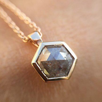 18ct rose gold Hexagon diamond pendant