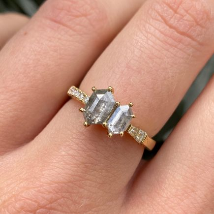 18ct yellow gold double hexagon rustic diamond engagement ring
