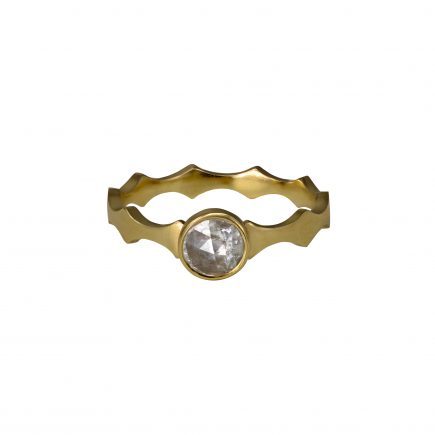 9ct yellow gold Cara Tonkin Double Edge Scallop Diamond Ring