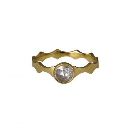 9ct yellow gold Cara Tonkin Double Edge Scallop Diamond Ring