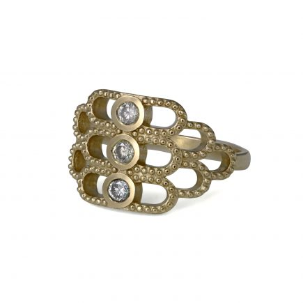9ct yellow gold Cara Tonkin Beaded Trio Grey Diamond Ring