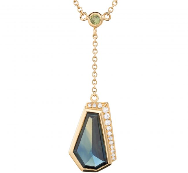 18ct yellow fairtrade gold and Freeform Australian sapphire drop pendant