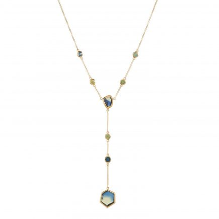 18ct yellow fairtrade gold and hexagon Australian sapphire pendant