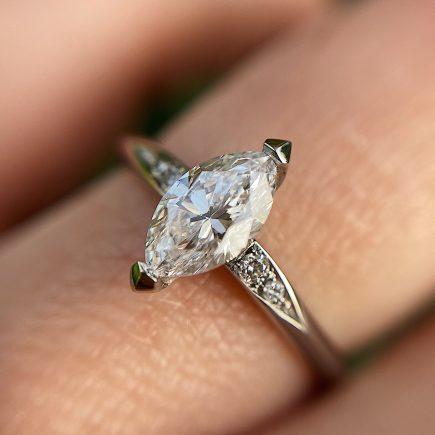 Platinum and marquise diamond mini Coco engagement ring