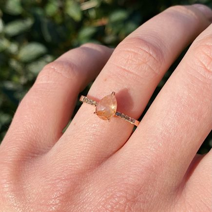 18ct rose gold and rose-cut Cayenne pepper diamond engagement ring