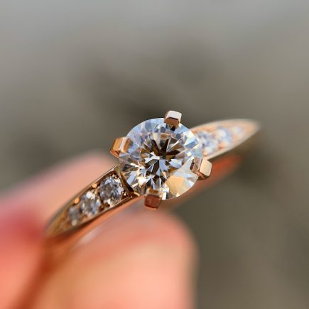 18ct rose gold and white diamond Coco engagement ring