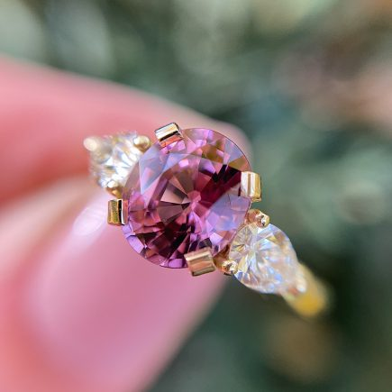 18ct yellow gold dusky pink Spinel and yellow Diamond Coco Trilogy ring