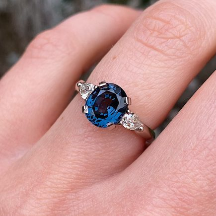 18ct white gold blue Spinel and Diamond Coco Trilogy ring