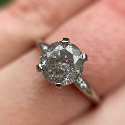 Mini Coco Salt and Pepper Diamond Platinum Engagement Ring