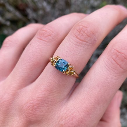 18ct yellow gold Montana sapphire and yellow diamond Coco cocktail ring