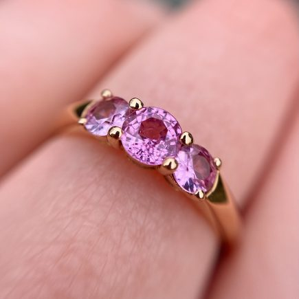 18ct rose gold and pink sapphire Coco trilogy ring