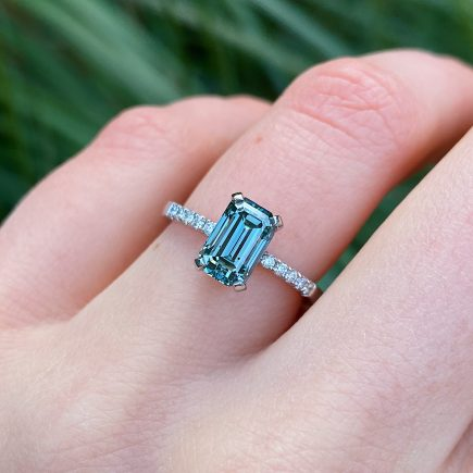 Platinum and Emerald-cut Teal Diamond Ring