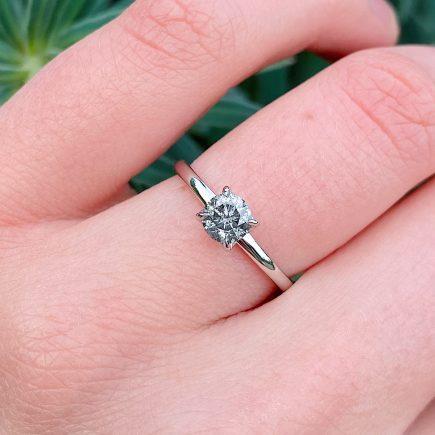 Platinum salt and pepper diamond solitaire tulip ring