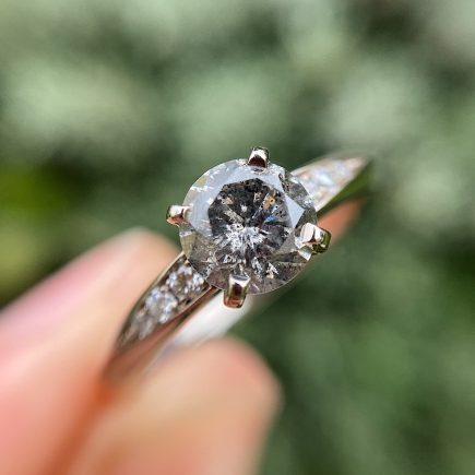 18ct White Gold 1ct Salt and Pepper Diamond Coco Engagement Ring