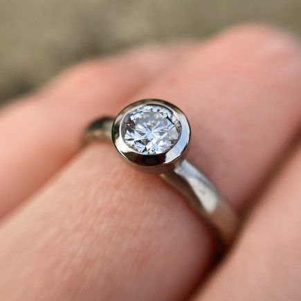 18ct White Gold and 0.51ct White Diamond Molten Engagement Ring