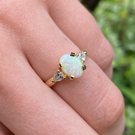 18ct yellow gold Opal and Diamond Coco trilogy ring
