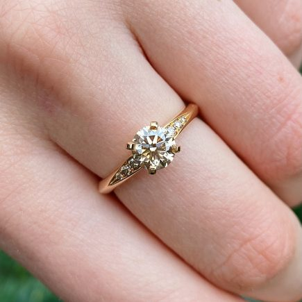 18ct rose gold and one carat brown diamond Coco engagement ring