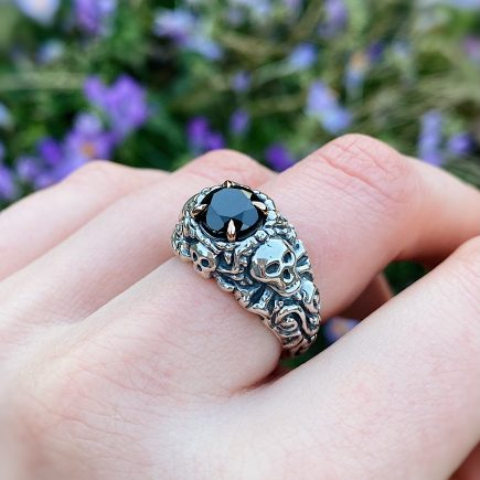 Silver Pirate ring with Black Sapphire and 9ct rose gold claws