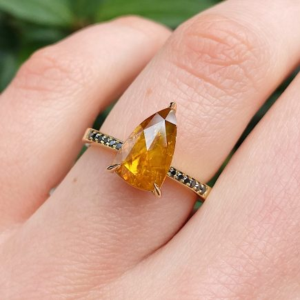 18ct Yellow Gold Unique Orange Diamond Ring with Black Diamond Shoulders